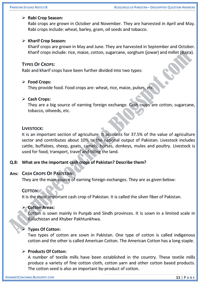 resources-of-pakistan-descriptive-question-answers-pakistan-studies-ix