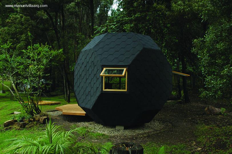 Arquitectura de casas peque a caba a geom trica de madera - Casas de madera pequenas para jardin ...