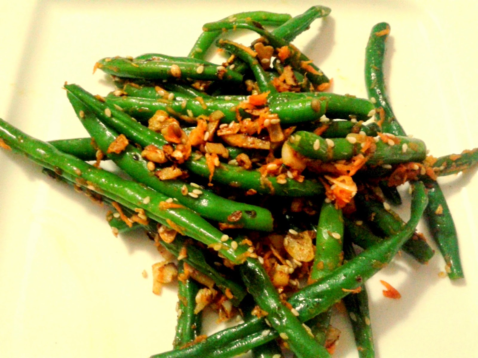 Ingredients: Green beans, 1sp grated carrot Garlic, ginger, sesame ...