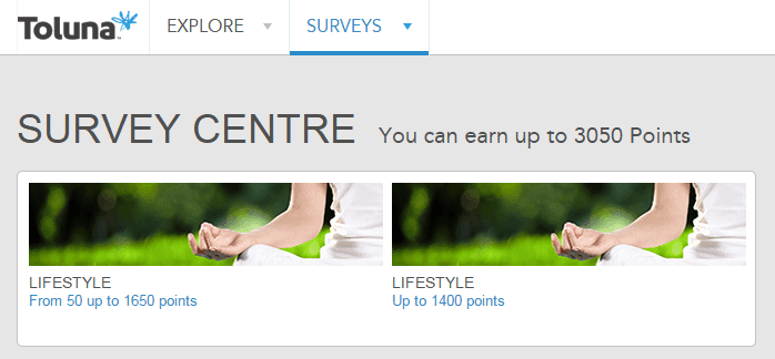 Survey centre that shows the available surveys | Toluna