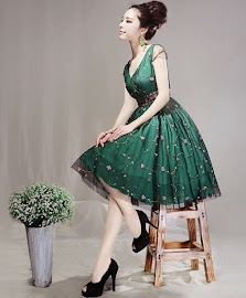 Spring 2014 New Release: Vintage Short Sleeve Emerald Green Rose Embroidered Lace Dress