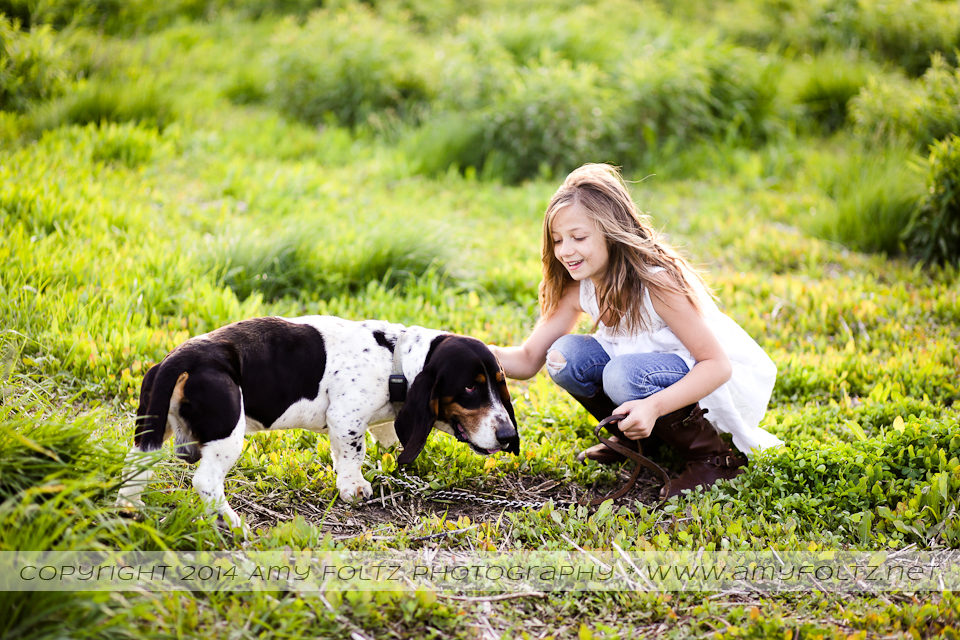 photo of a girl and her basset hound - Terre Haute photographer