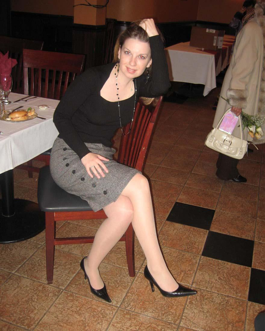 Women in pantyhose and heels