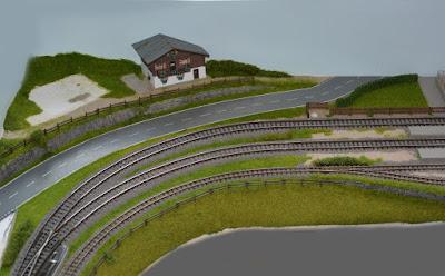 Die vorgestaltete Landschaft mit Häuschen. Jetzt kommen die Feinheiten.