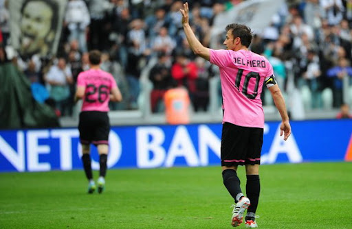 Alessandro Del Piero waves to supporters on his last appearance for Juventus