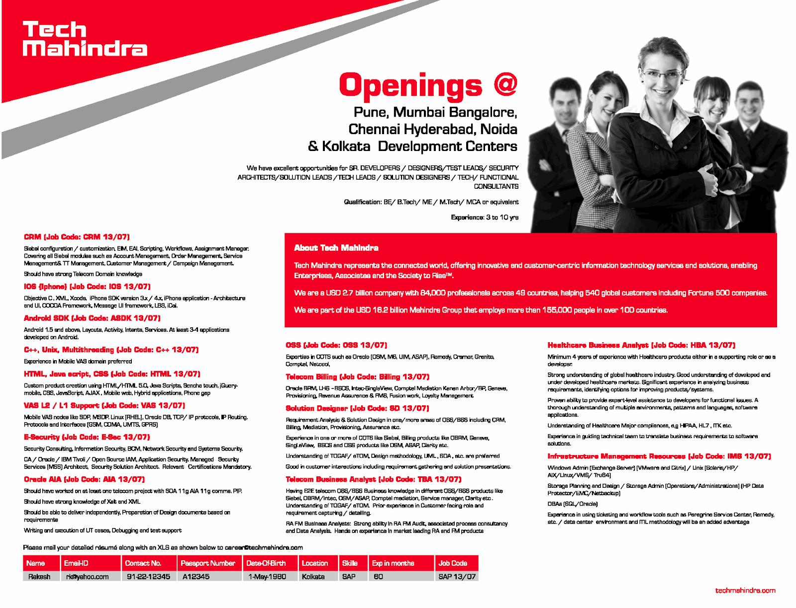 IT, Engineering & Technical Jobs in India: Tech Mahindra ...