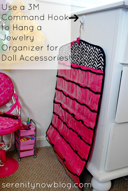Use a 3M Command Hook to Hang a Jewelry Organizer (for doll stuff), from Serenity Now