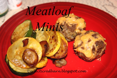 meatloaf minis and vegetables @Eclectic Red Barn