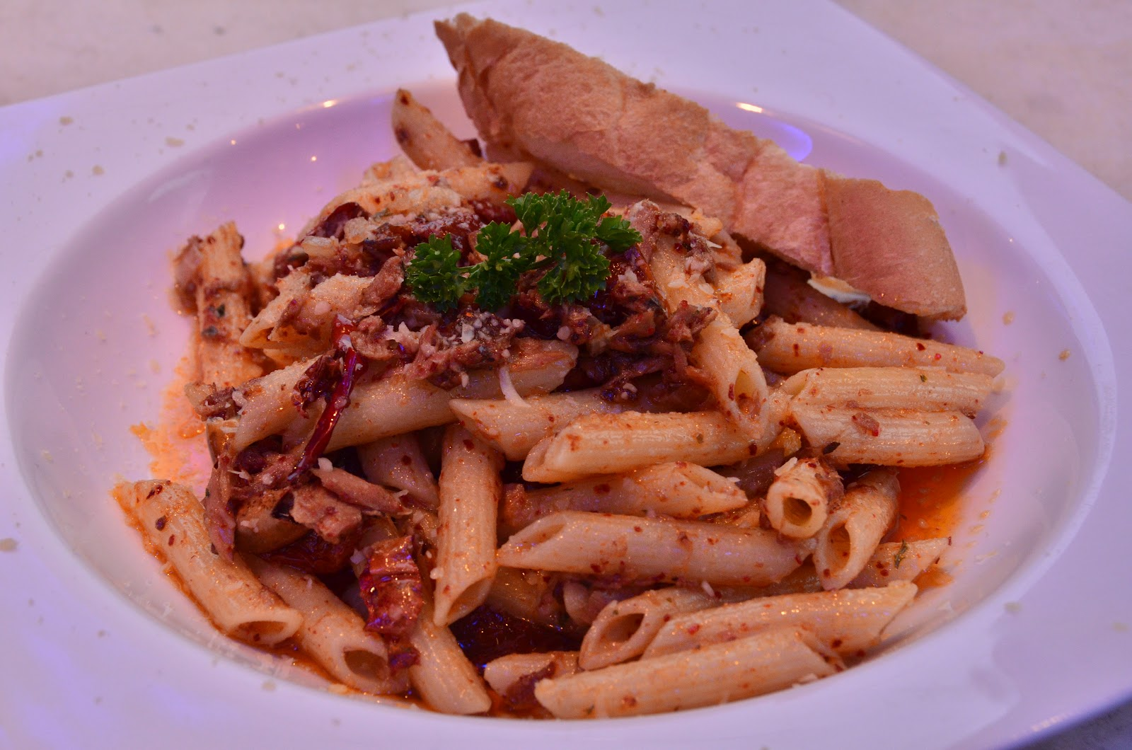 Spicy Tuna Penne - tuna in olive oil, sun dried tomatoes, black olives
