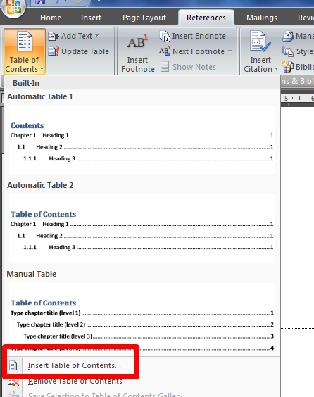 How do I Create a Table of Contents Using Microsoft Word 2007?
