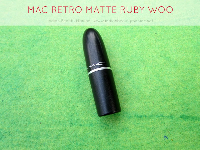 MAC Retro Matte Ruby Woo Review, Ruby Woo on Indian Skin tone, Ruby Woo on NC40, MAC Lipsticks in India, Ruby Woo Swatch, Indian Beauty Blogger, Indian Makeup Blogger