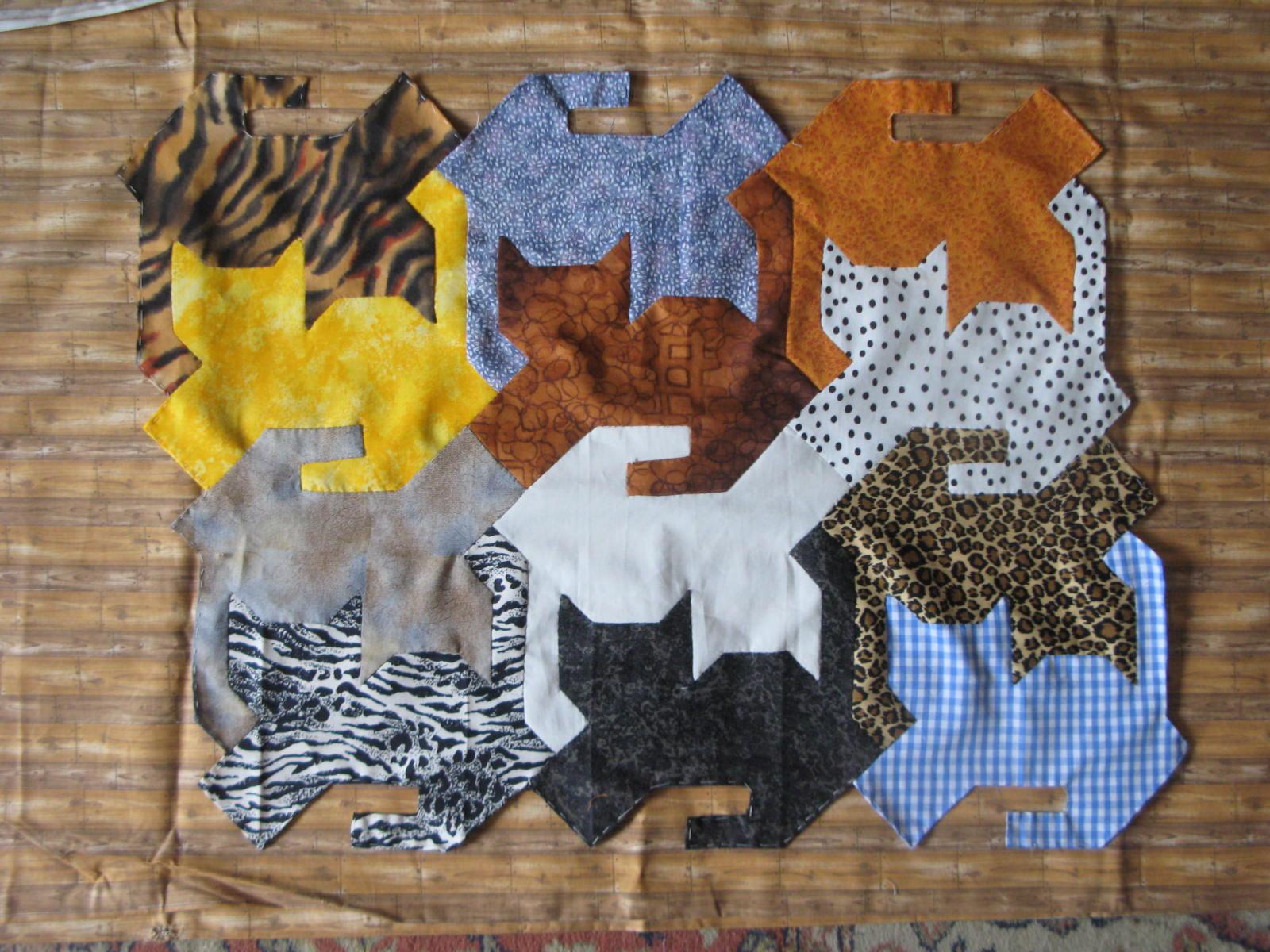 My Quilt Diary: Herding cats - part 3 : tessellation cat quilt pattern - Adamdwight.com