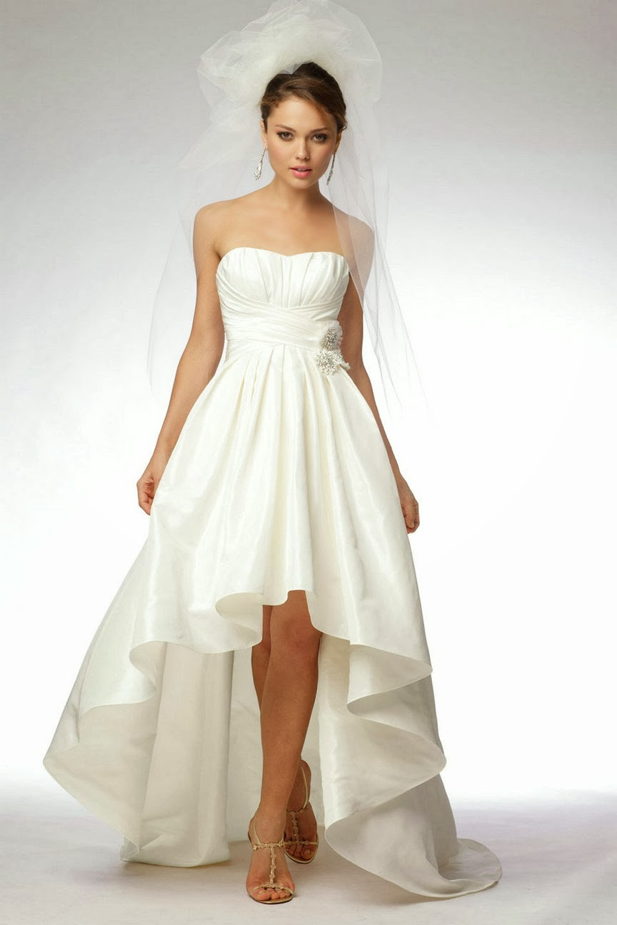 Chic short dress stylish high low style wedding dresses for Wedding dress pick up style