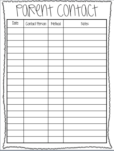 parent contact freebie where the first graders are