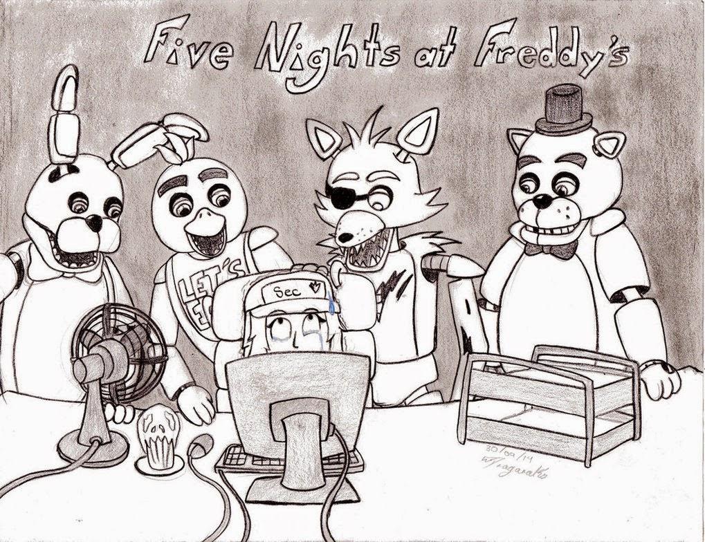 desenho a preto e branco five nights at freddy s sem limites