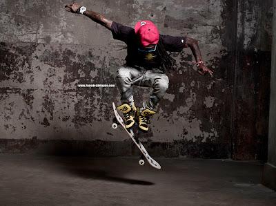 fotos de lil wayne patinando haciendo skate