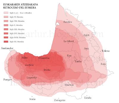 Retroceso histórico del euskara en Vasconia
