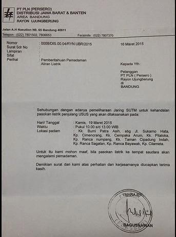 PLN Padamkan Listrik di Wilayah Rancanumpang Kamis 19 Maret 2015