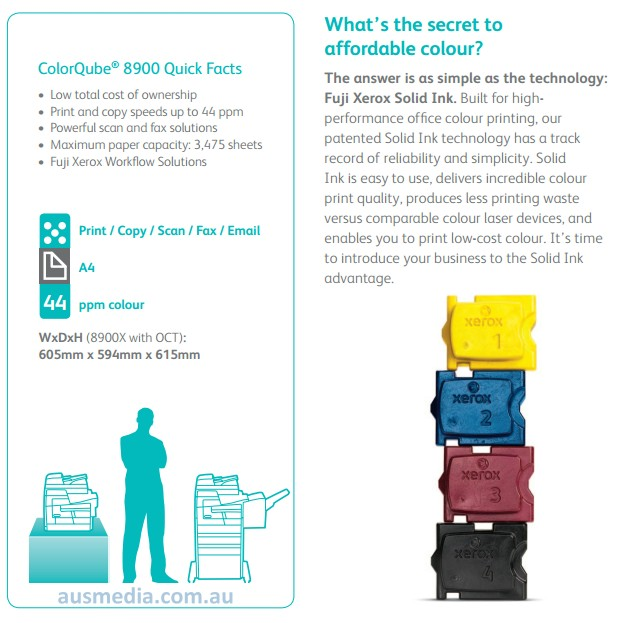 depending on the model is question solid ink cube printers generally have a cost per print of approx 006 to 009 aud per colour a4 page
