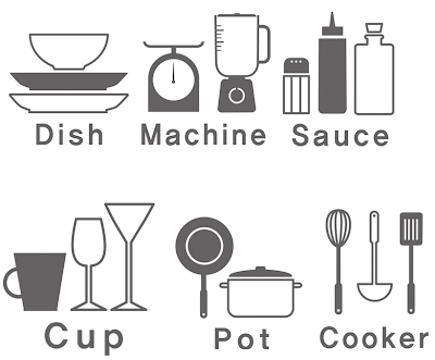 stickers to label kitchen cabinets with words and pictures