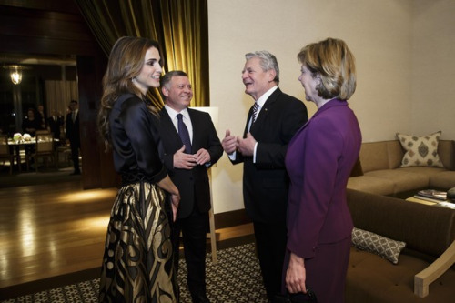 King And Queen Of Jordan Meet President of Germany At Royal Palace In Jordan