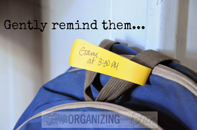 Reminder tags to remind you or your teen not to forget :: OrganizingMadeFun.com