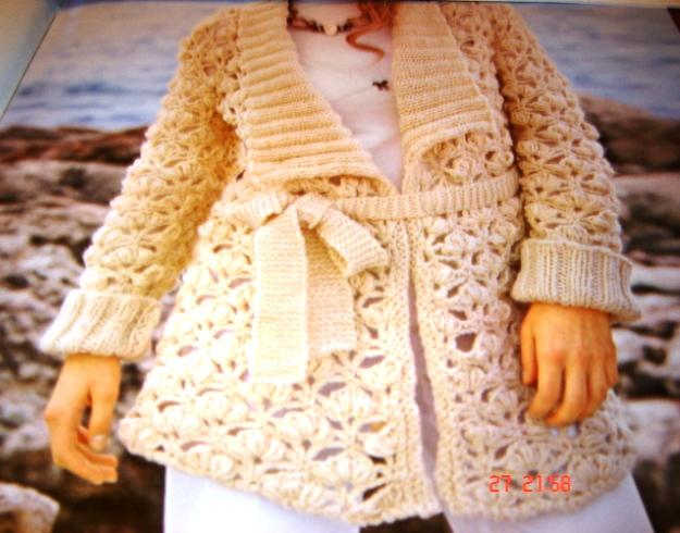 casaco de crochê e tricô