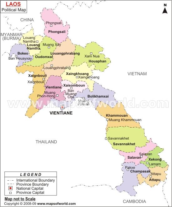 Oversikt over provinsene i Laos