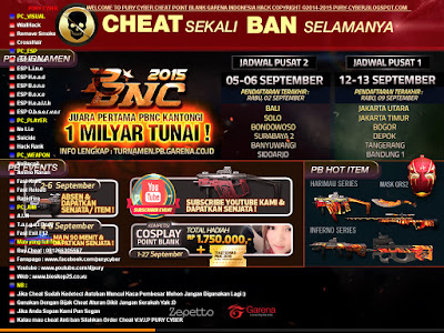 Cheat Point Blank Garena Indonesia 1, 2, 3 September 2015 Auto HS, Aim, Wallhack, No Recoil, Rank