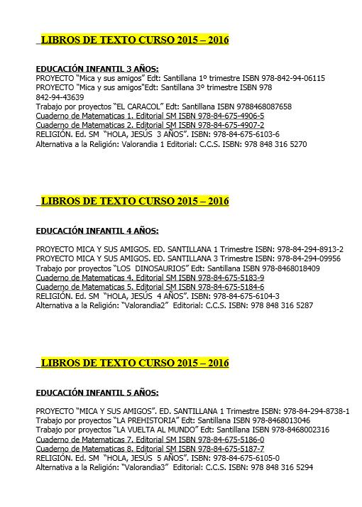 LIBROS EDUCACIÓN INFANTIL: