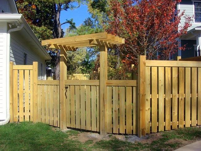 Craftsman fence gate and arbor lavender blue garden design for Fence with arbor
