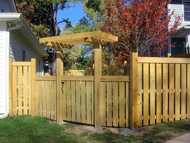 Craftsman fence gate and arbor lavender blue garden design for Craftsman style fence