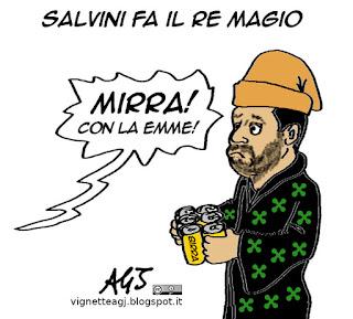 Salvini, re magi, Zucchero, presepe vivente, mirra, satira vignetta