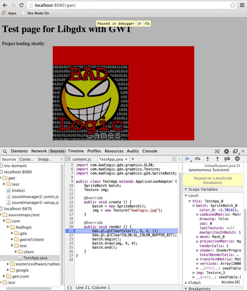 Отладка libGDX html проекта