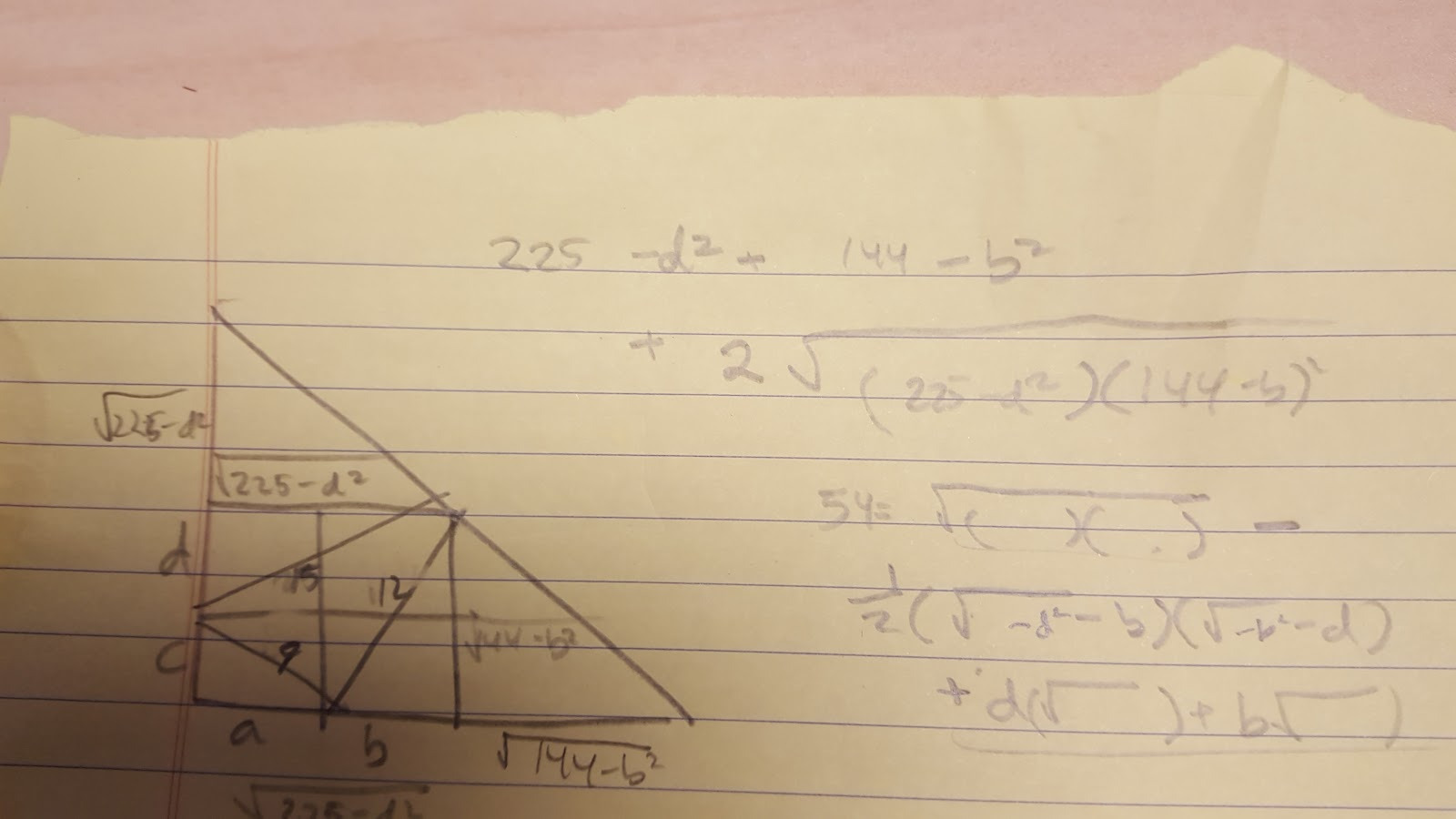 the key realization from above is that ab is the sum of the 2 sides of the box i e a b c d and that the 2 smaller