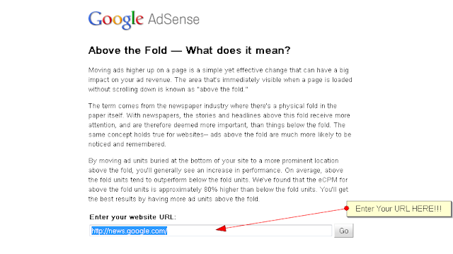 Google AdSense- Above The Fold Tool