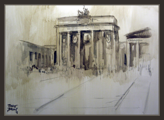 BERLIN-WW2-ART-BRANDENBURGER TOR-PAINTINGS-PINTURA-PINTOR-ERNEST DESCALS-