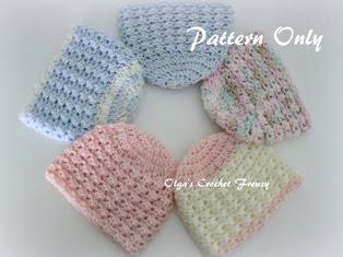 Preemie Baby Beanie Crochet Pattern, $1.75