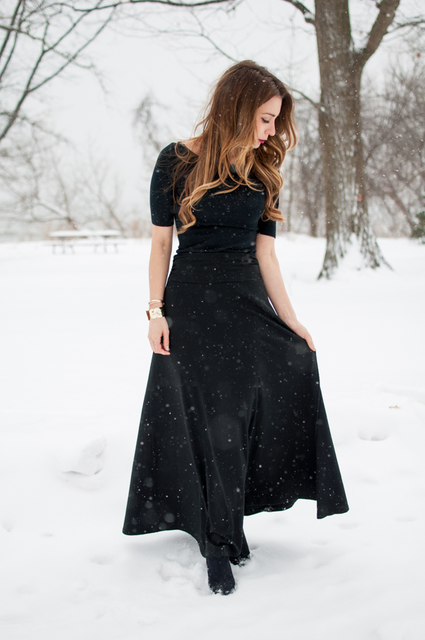 ootd black maxi skirt for winter la noob a