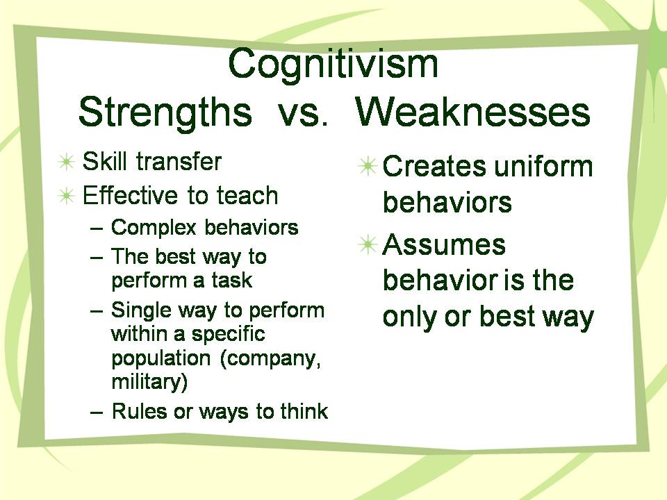 behaviorism cognitivism constructivism Free essay: a behaviorism, constructivism and cognitivism are relatively common theories used in the classroom as ways to approach student learning.