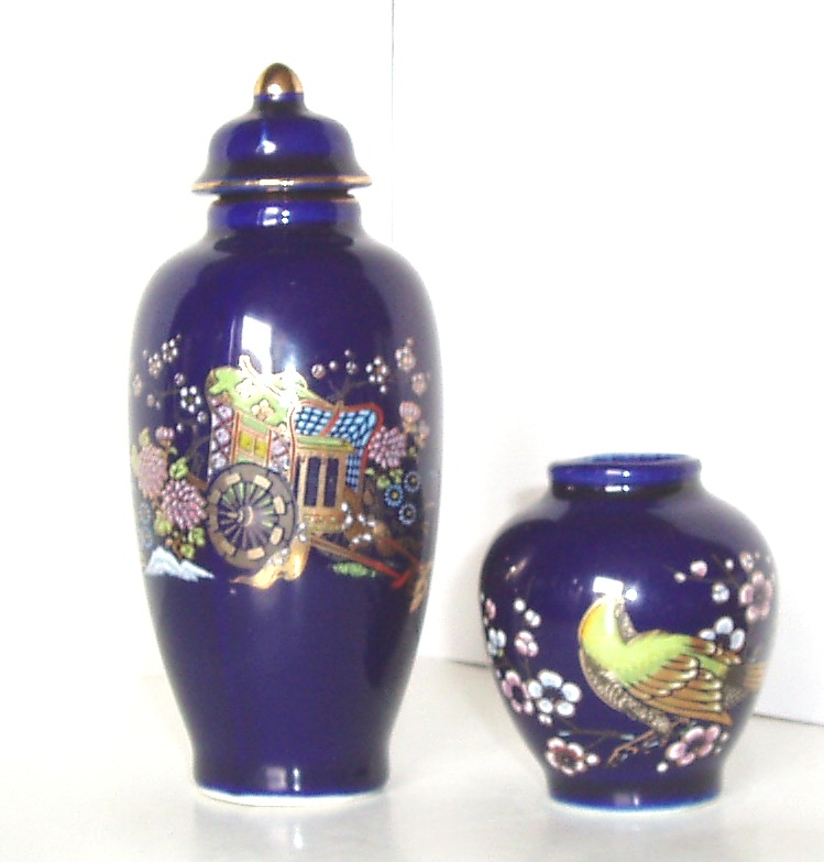 Pottery And Glass Art Hand Decorated Porcelain Vase And Urn Cobalt
