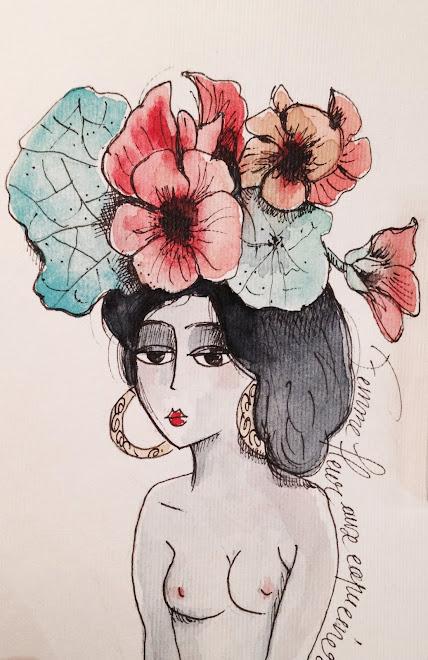 Femme fleur aux capucines