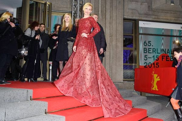 Excellent! Elizabeth Banks, 40, arrived to the 65th Berlinale International Film Festival at Grand Hyat Hotel in Berlin, Germany on Sunday, January 8, 2015 in a red scarlet outfit by Elie Saab Couture dress design.