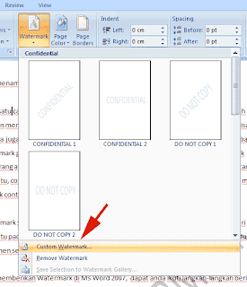 membuat watermark di ms word 2007