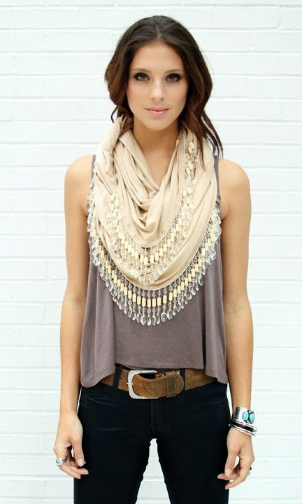 High Fashion for woman Chandelier Bead Trim Infinity Scarf
