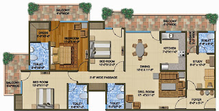 The Romano :: Floor Plans,Type C:-Super Area - 2170 Sq. Ft.