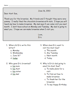 Classroom Freebies Too: Letter Reading Comprehension