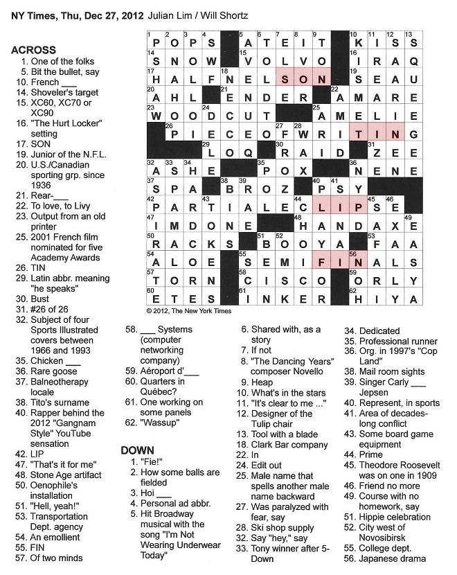 the new york times crossword in gothic  12 27 12  u2014 partially