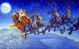 Santa Claus flying on his sleigh with Christmas gifts drawing art desktop wallpaper