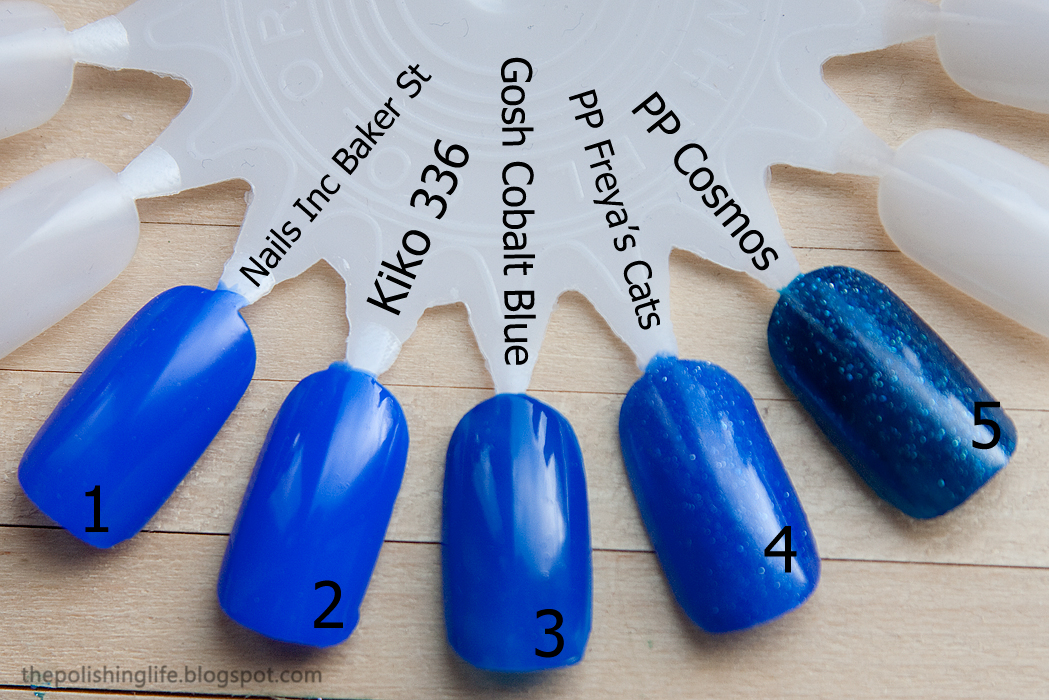 Comparison between Picture Polish Freya's Cats, Cosmos,Kiko 336, Nails Inc Baker St, Gosh Cobalt Blue nail polish.